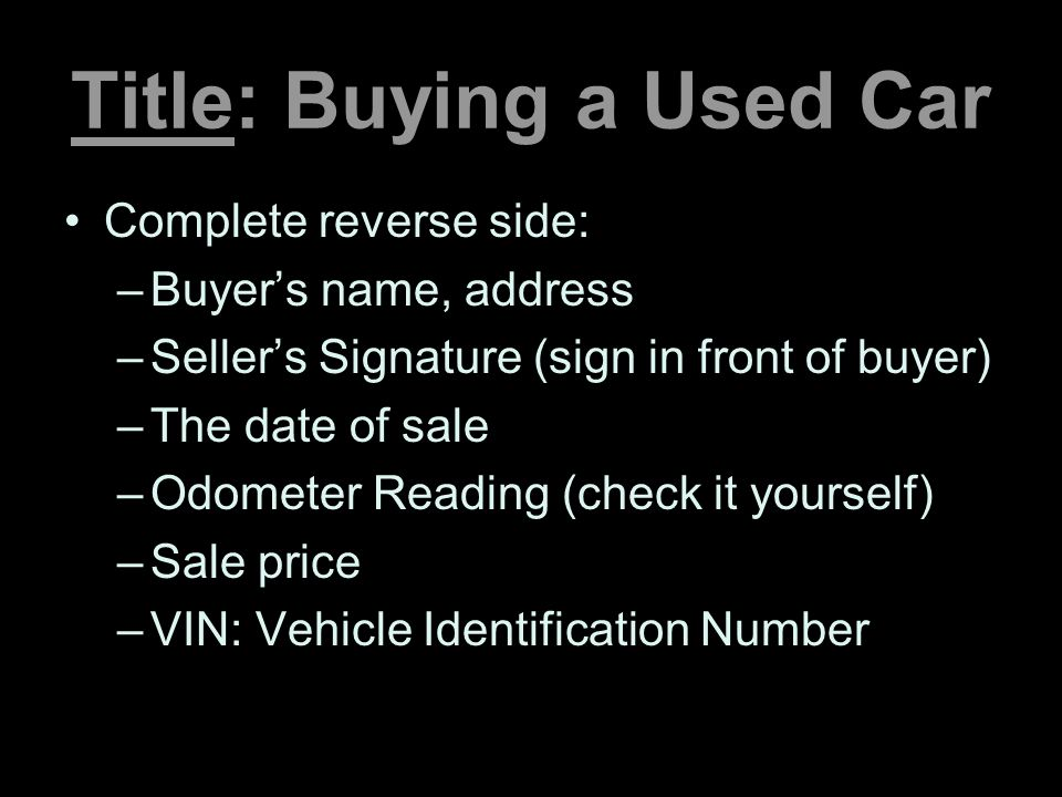 Title: Buying a Used Car