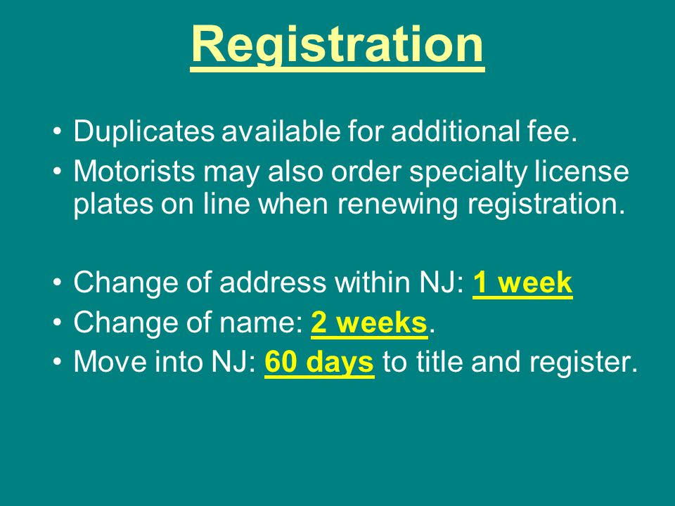 Registration Duplicates available for additional fee.