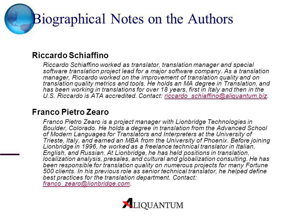 Biographical Notes on the Authors