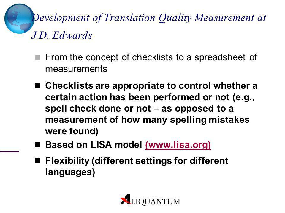 Development of Translation Quality Measurement at J.D. Edwards