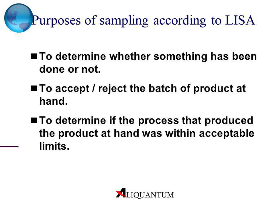 Purposes of sampling according to LISA