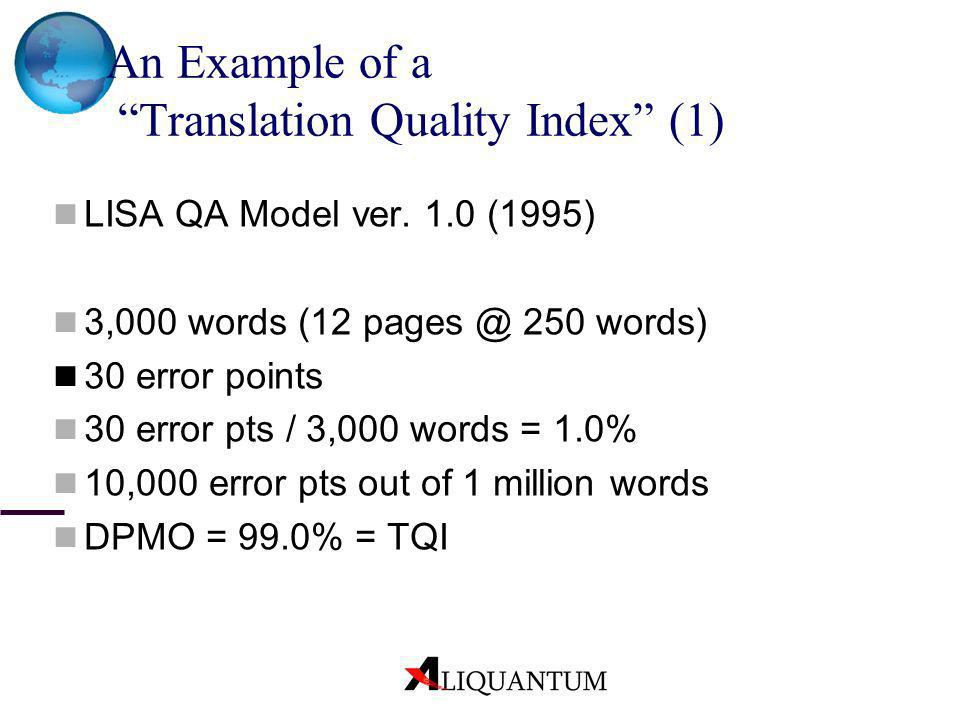 An Example of a Translation Quality Index (1)