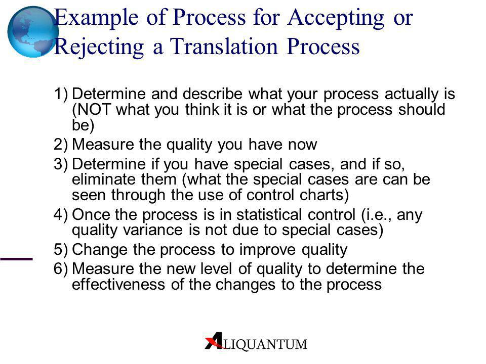 Example of Process for Accepting or Rejecting a Translation Process