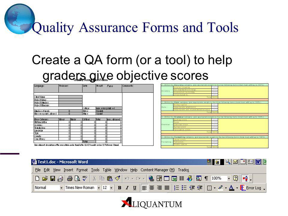 Quality Assurance Forms and Tools