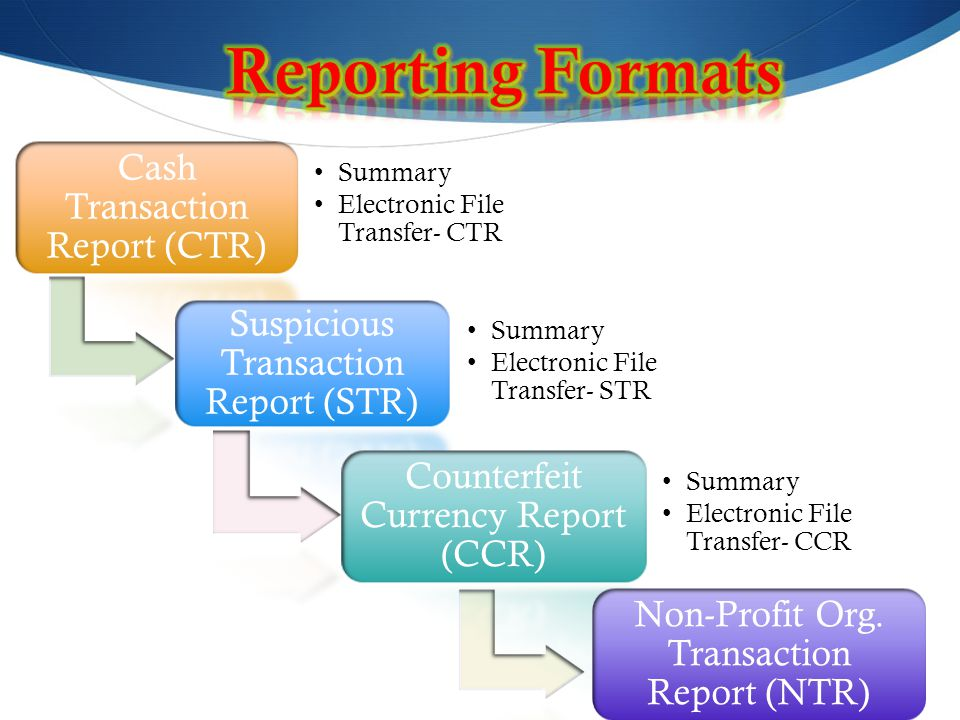Reporting Formats Cash Transaction Report (CTR)