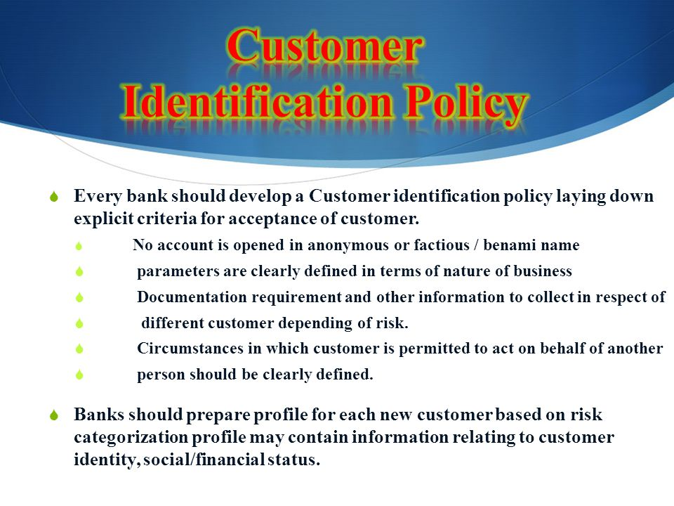 Customer Identification Policy