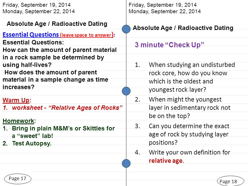 Absolute dating worksheet answer key