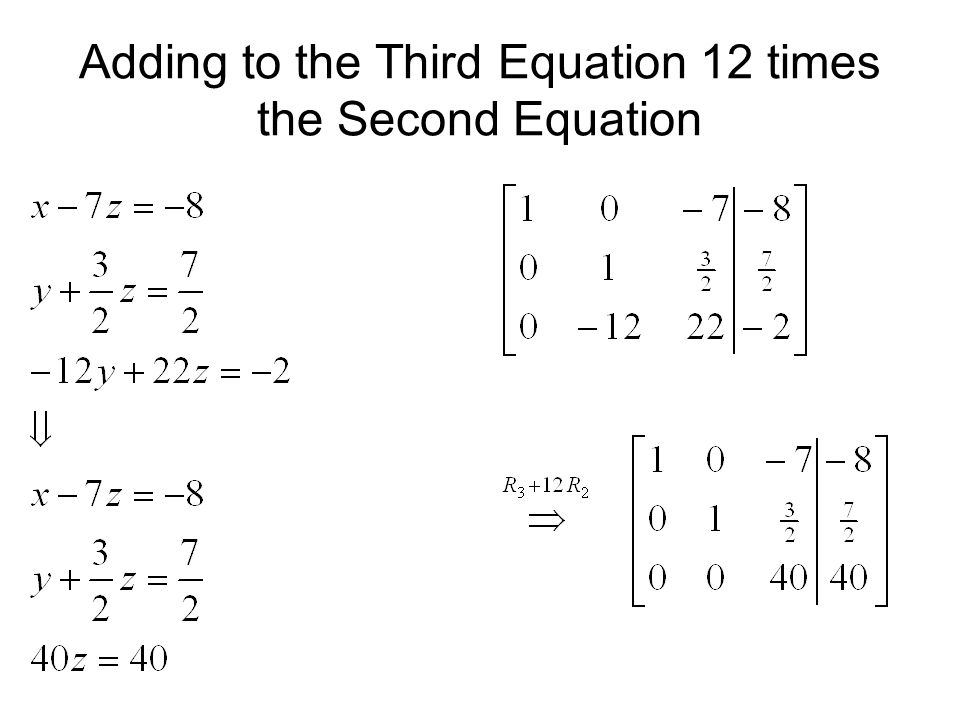 Adding to the Third Equation 12 times the Second Equation
