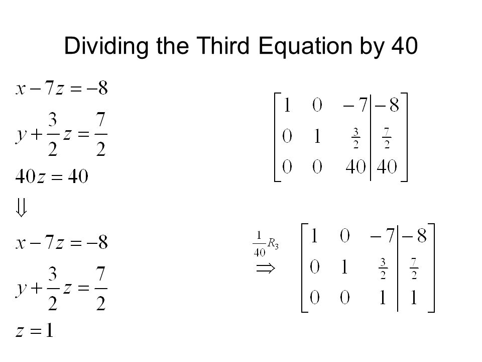 Dividing the Third Equation by 40