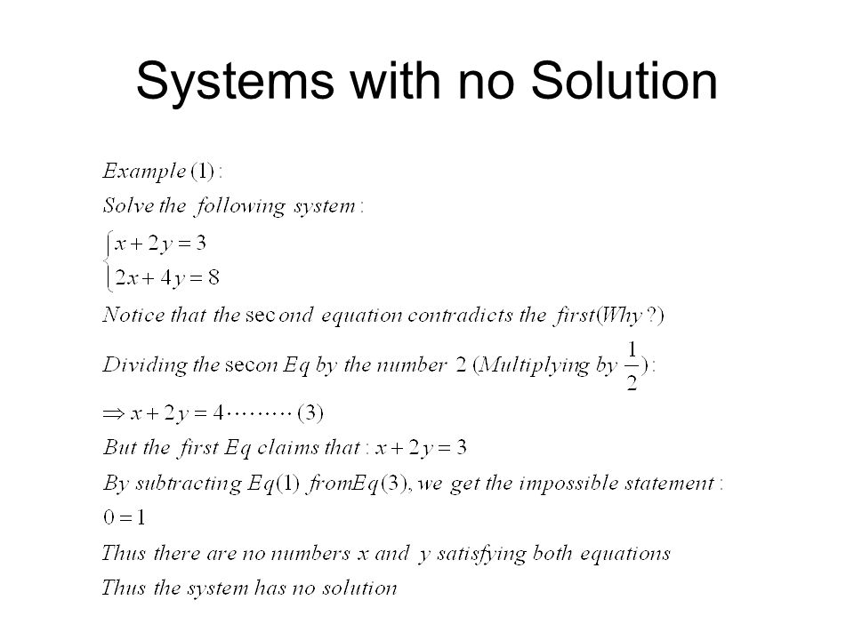 Systems with no Solution