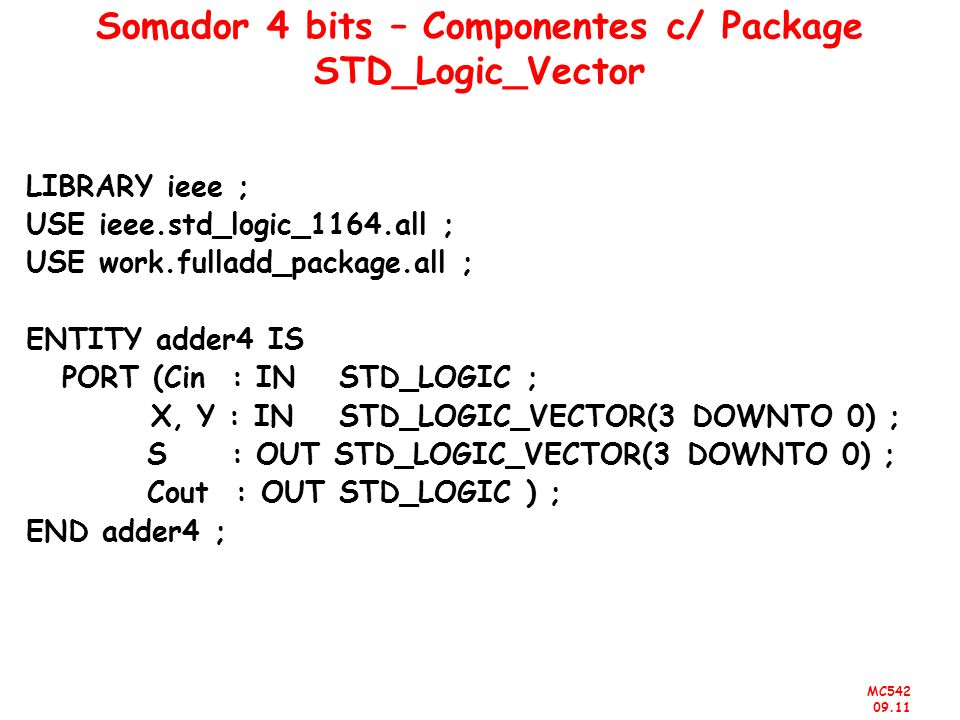 Somador 4 bits – Componentes c/ Package STD_Logic_Vector