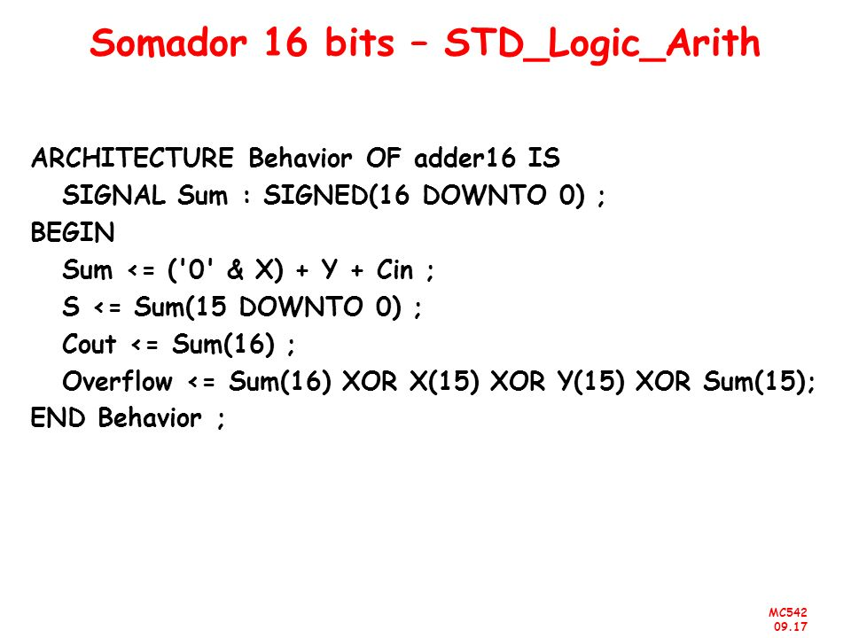 Somador 16 bits – STD_Logic_Arith