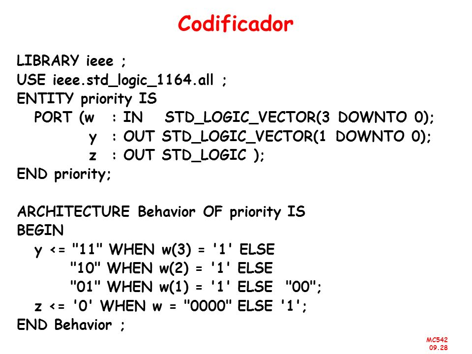 Codificador LIBRARY ieee ; USE ieee.std_logic_1164.all ;