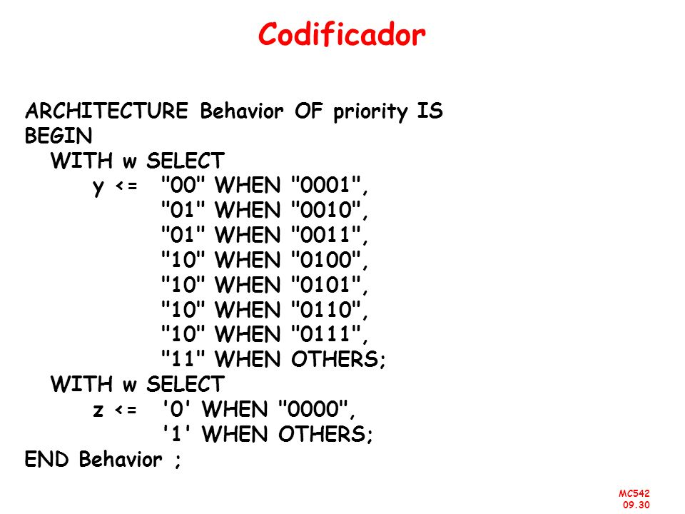 Codificador ARCHITECTURE Behavior OF priority IS BEGIN WITH w SELECT