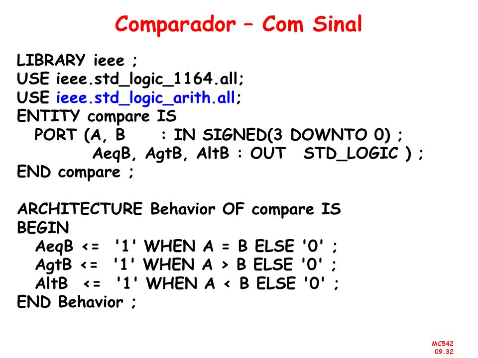 Comparador – Com Sinal LIBRARY ieee ; USE ieee.std_logic_1164.all;