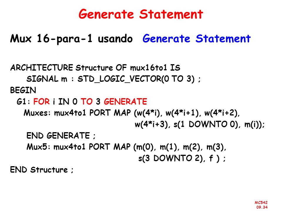 Generate Statement Mux 16-para-1 usando Generate Statement