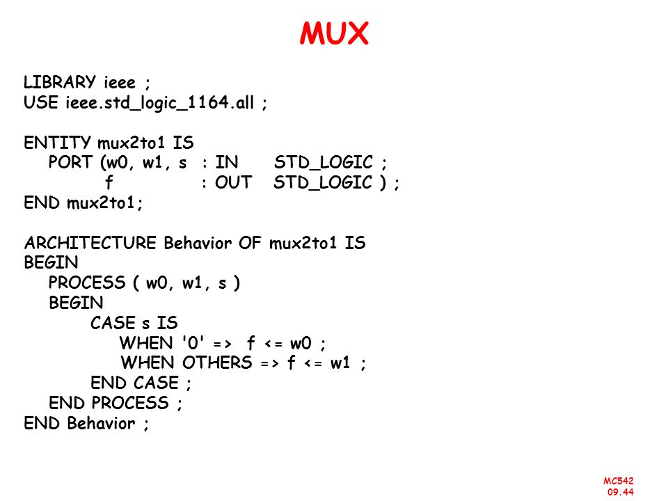 MUX LIBRARY ieee ; USE ieee.std_logic_1164.all ; ENTITY mux2to1 IS
