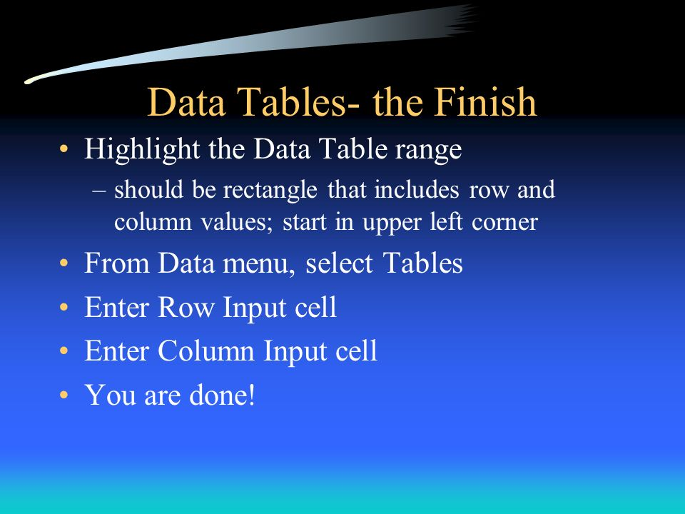 Data Tables- the Finish