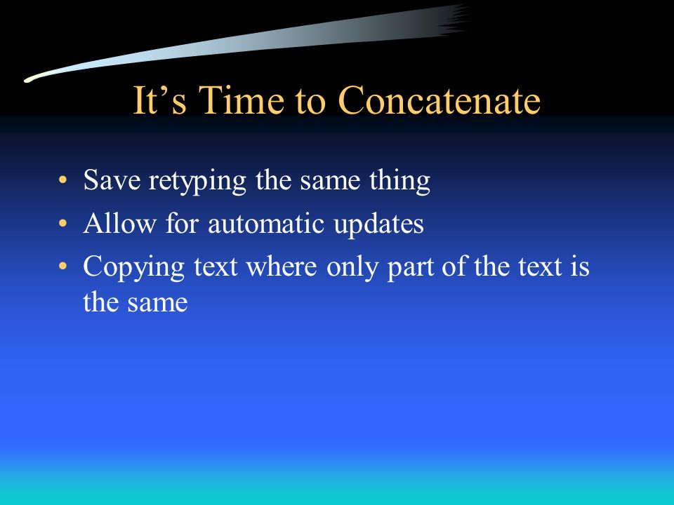 It's Time to Concatenate