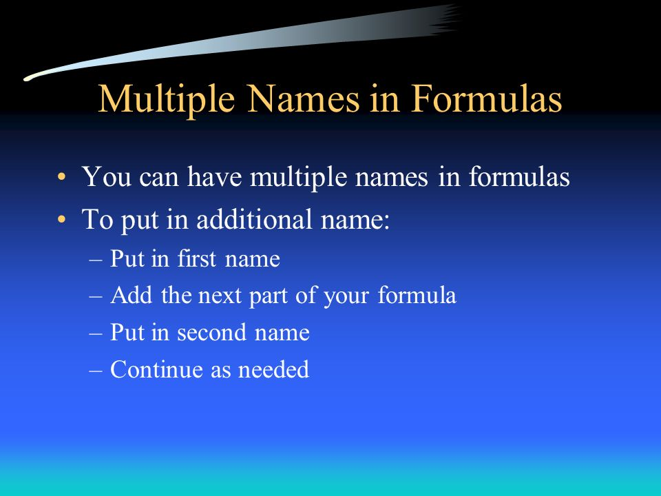 Multiple Names in Formulas