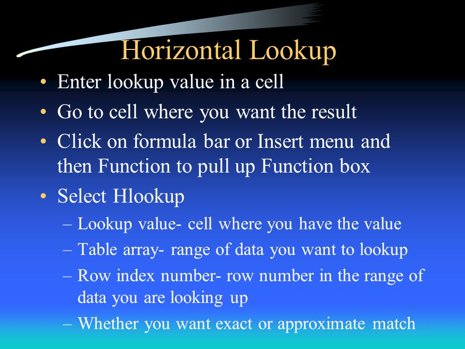 Horizontal Lookup Enter lookup value in a cell