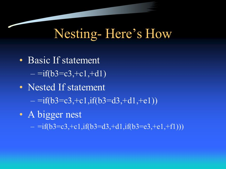 Nesting- Here's How Basic If statement Nested If statement