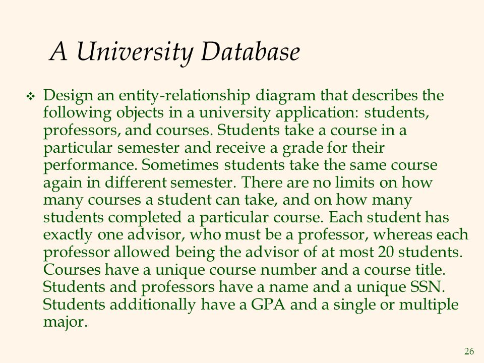 Cs f212 database systems todays class e r model ppt video online a university database ccuart Images