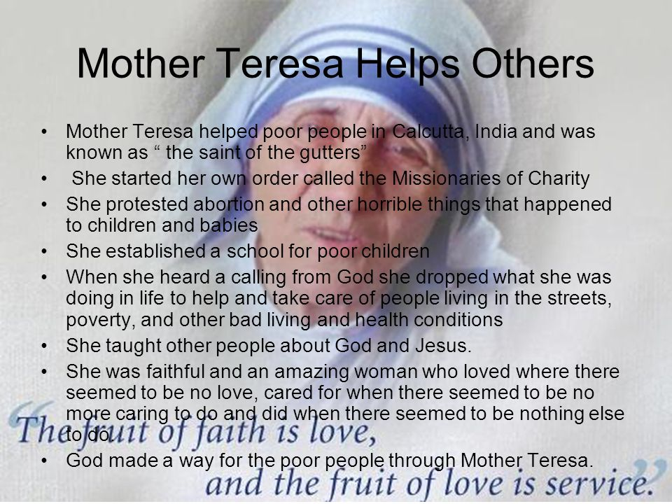 Mother Teresa Helps Others