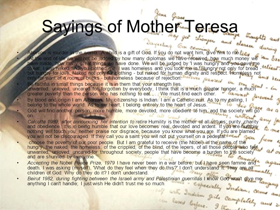 Sayings of Mother Teresa