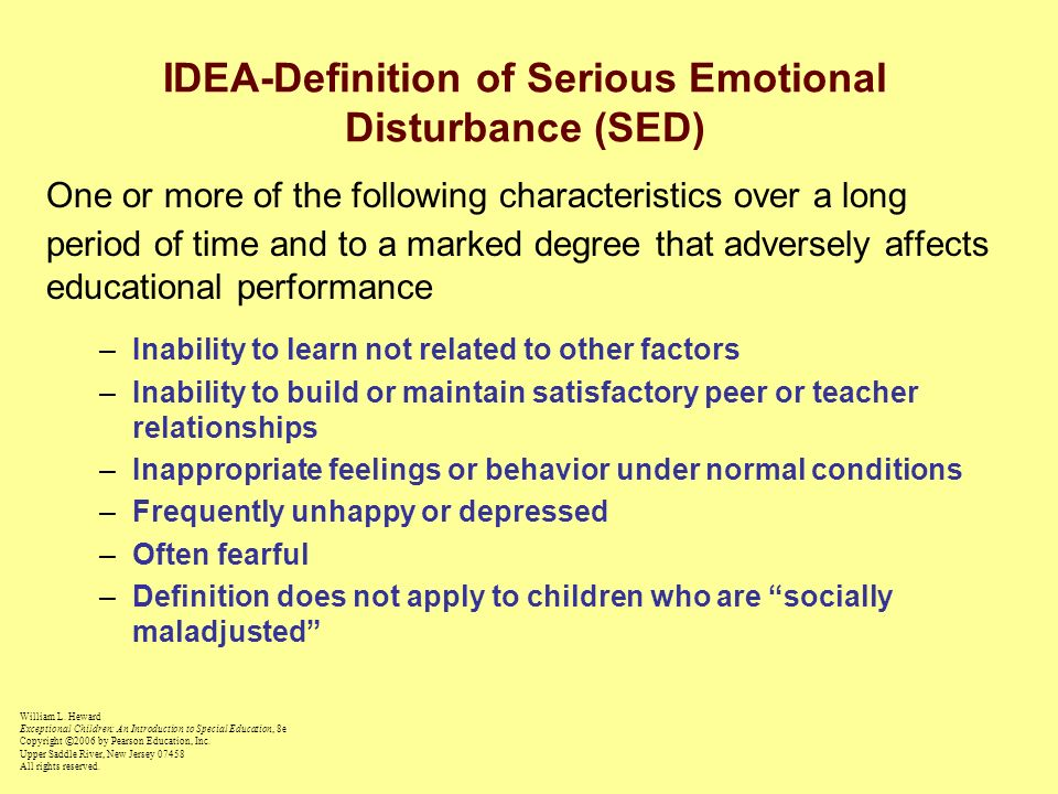 IDEA-Definition of Serious Emotional Disturbance (SED)