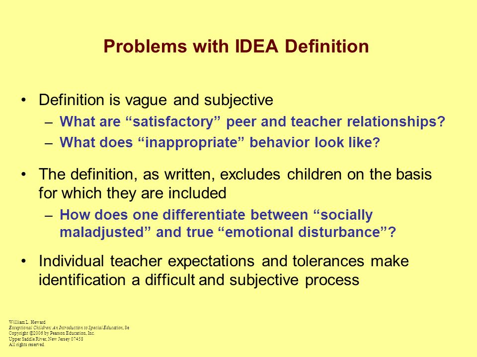 Problems with IDEA Definition