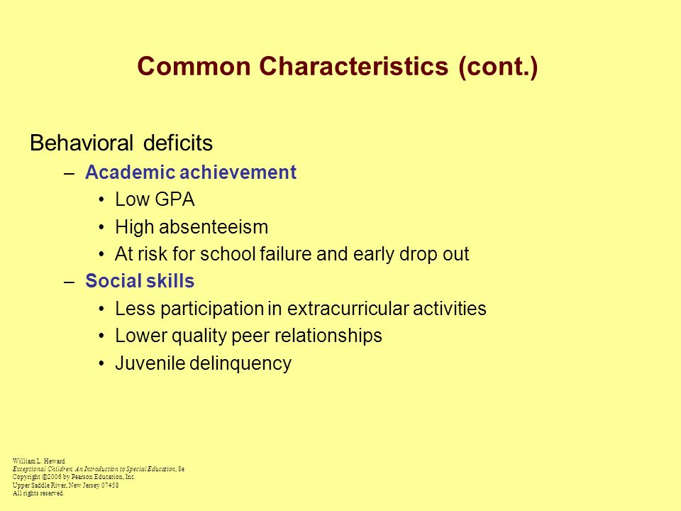 Common Characteristics (cont.)