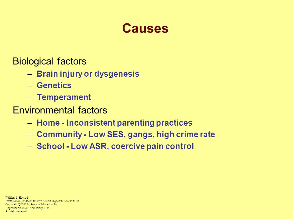 Causes Biological factors Environmental factors