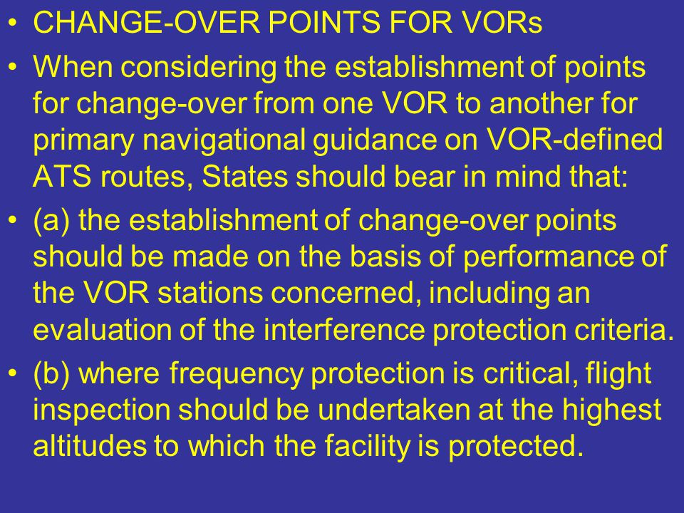 CHANGE-OVER POINTS FOR VORs