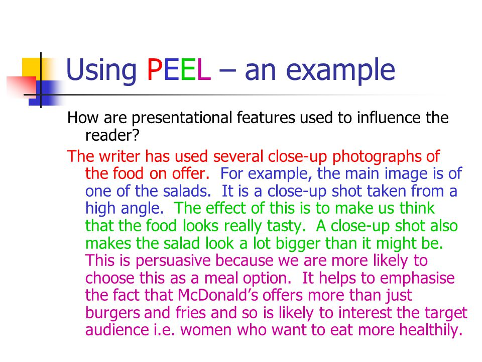 Using PEEL – an example How are presentational features used to influence the reader
