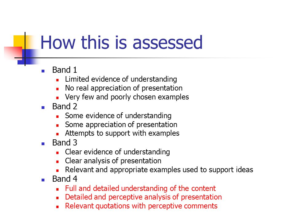 How this is assessed Band 1 Band 2 Band 3 Band 4