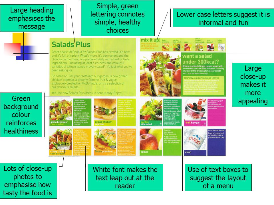Simple, green lettering connotes simple, healthy choices