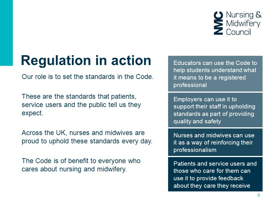 Regulation in action Our role is to set the standards in the Code.