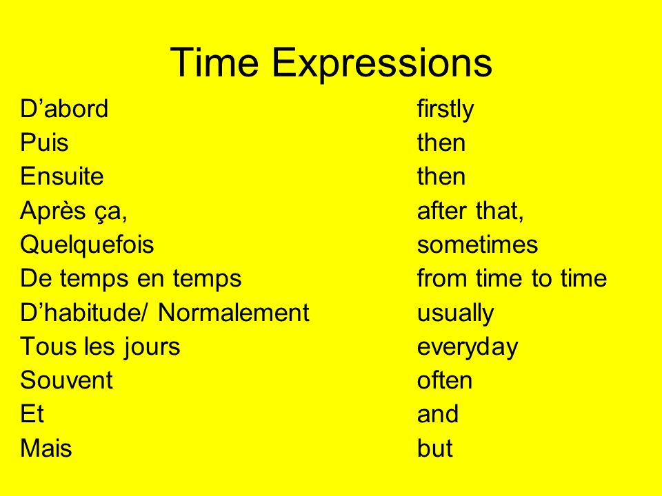 Time Expressions D'abord firstly Puis then Ensuite then