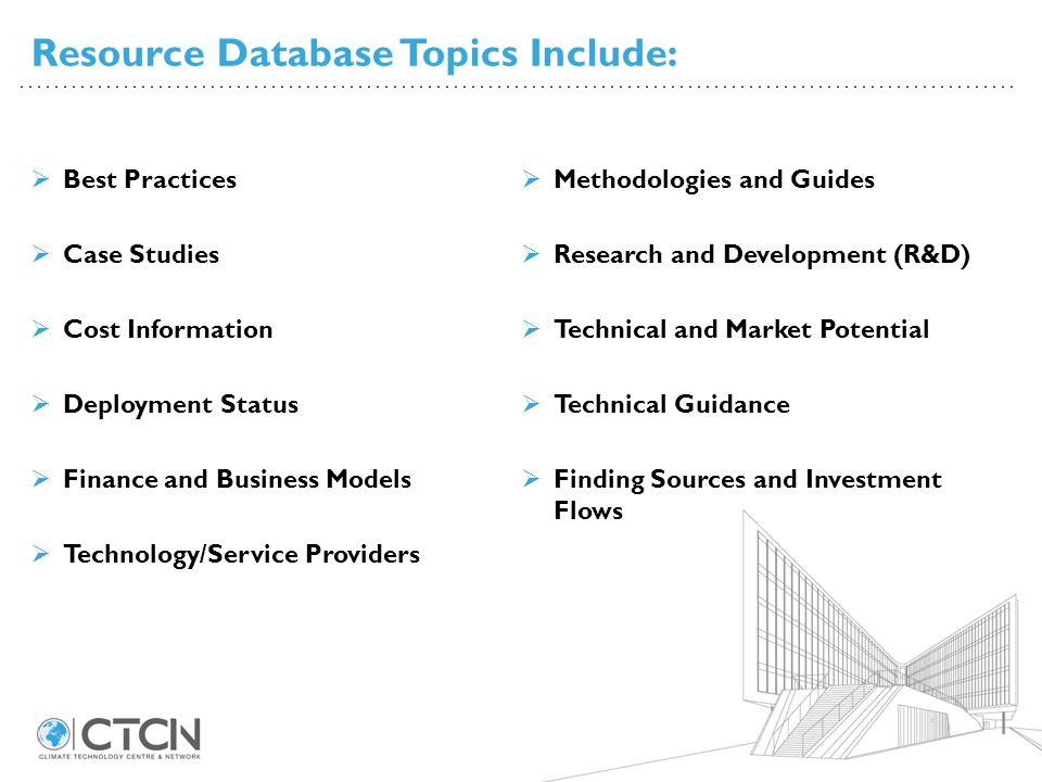 Resource Database Topics Include: