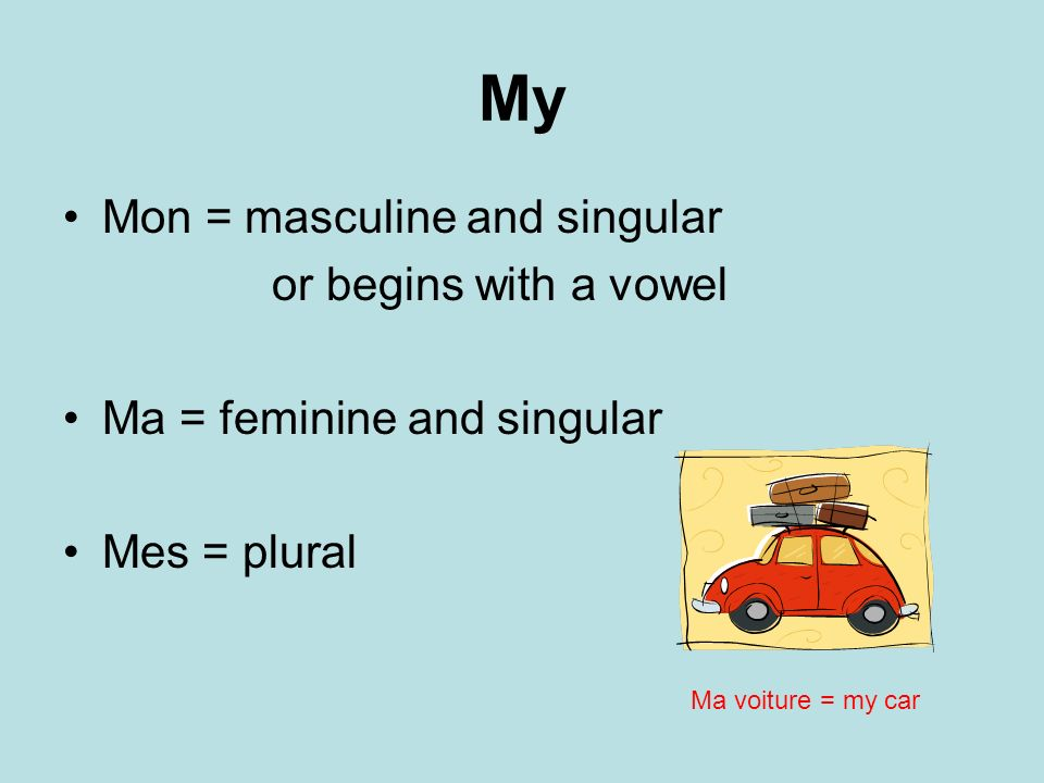 My Mon = masculine and singular or begins with a vowel