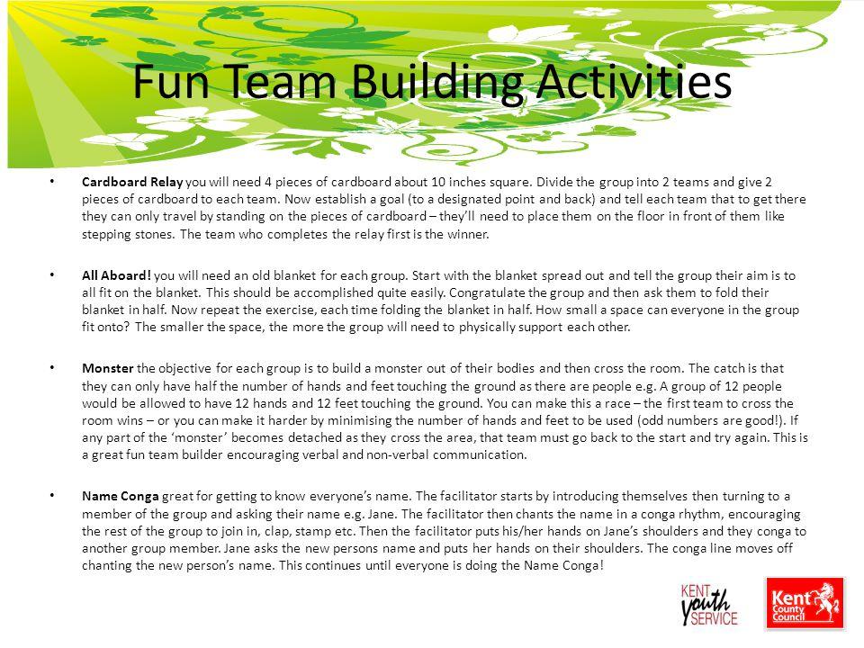 Non Verbal Team Building Activities