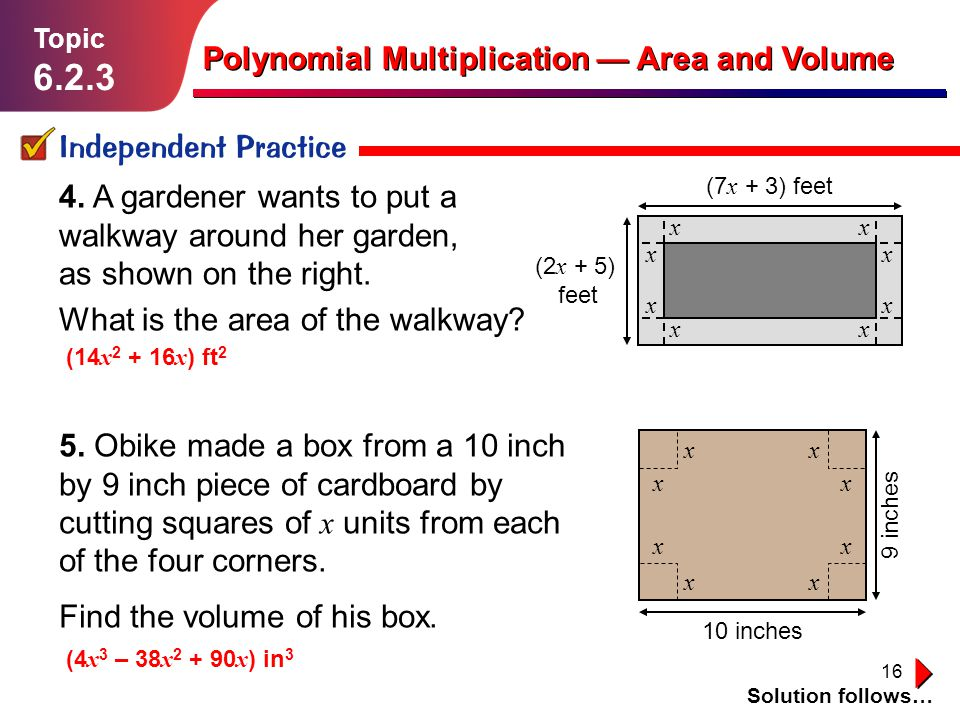 6.2.3 Polynomial Multiplication — Area and Volume Independent Practice