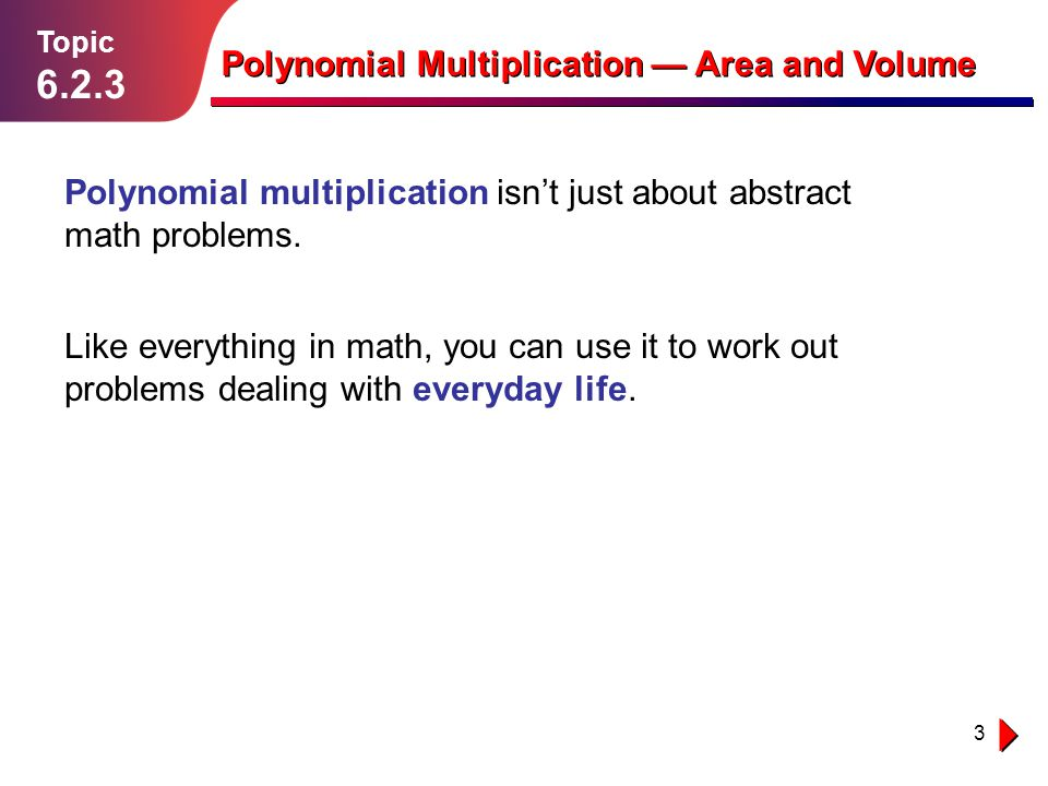 Polynomial Multiplication — Area and Volume