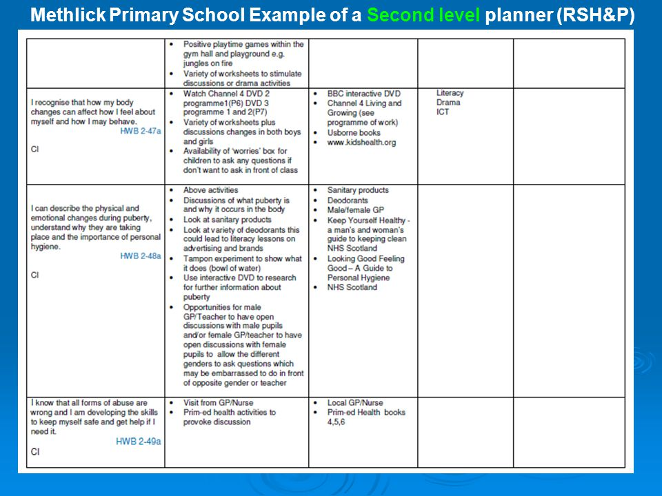 Methlick Primary School Example of a Second level planner (RSH&P)