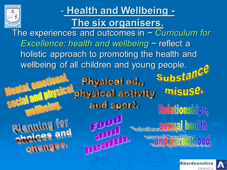 Health and Wellbeing - The six organisers.