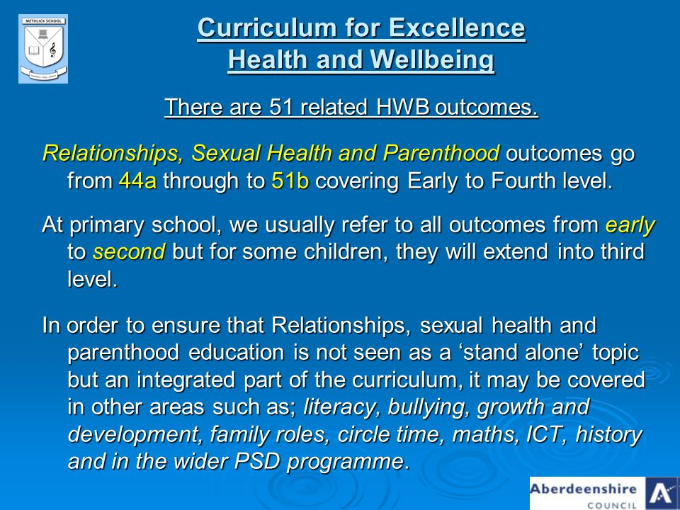 Curriculum for Excellence Health and Wellbeing