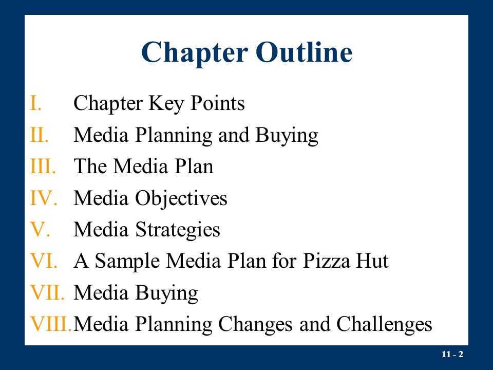 Chapter Outline Chapter Key Points Media Planning and Buying