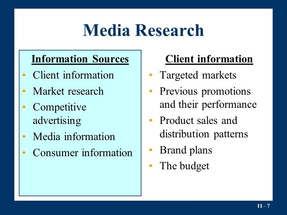 Media Research Information Sources Client information Market research