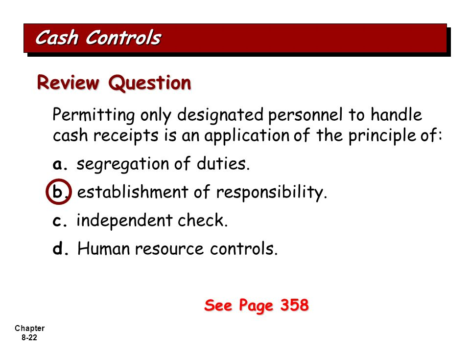 Review Question Cash Controls